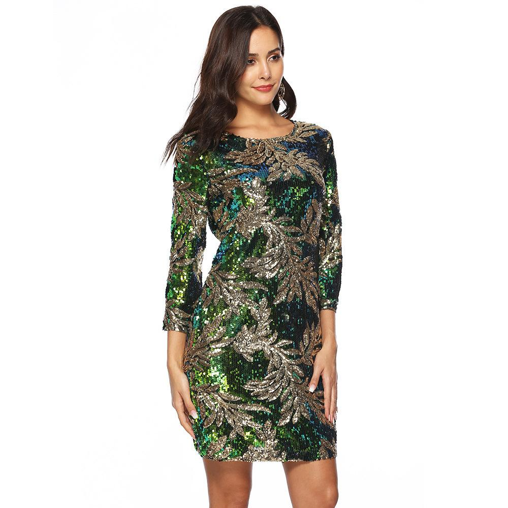 Designer Fashion New Product Explosion Models Europe And The United States  Foreign Trade Sexy High End Sequin Autumn Dress Women S Clothing Brides  Dress ... b0d06e809