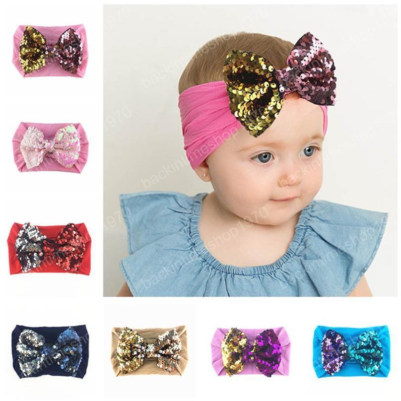19 Colors 2020 Baby Big sequins bowknot Headbands Fashion Sequin Bow Head wrap Baby Top Knot Nylon Headband Girl Hair Accessories