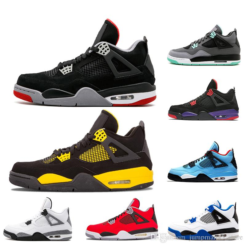 new concept dc899 1531f Mens 4 4s basketball shoes bred Thunder Raptors Green Glow Travis Scott x  4s Cactus Jack Motosports blue Mens Sports Trainers shoes