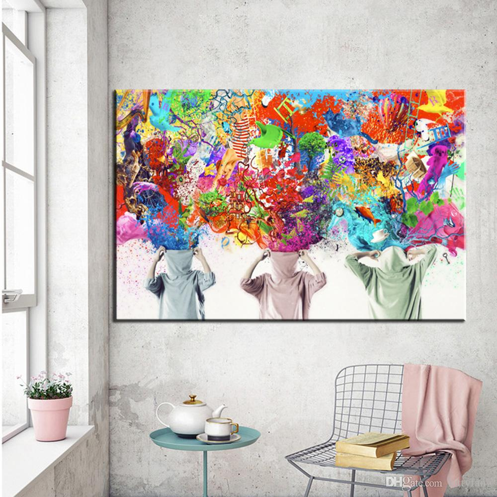 Acquista 1 pannello graffiti su tela fiori sbocciati for Pittura moderna soggiorno
