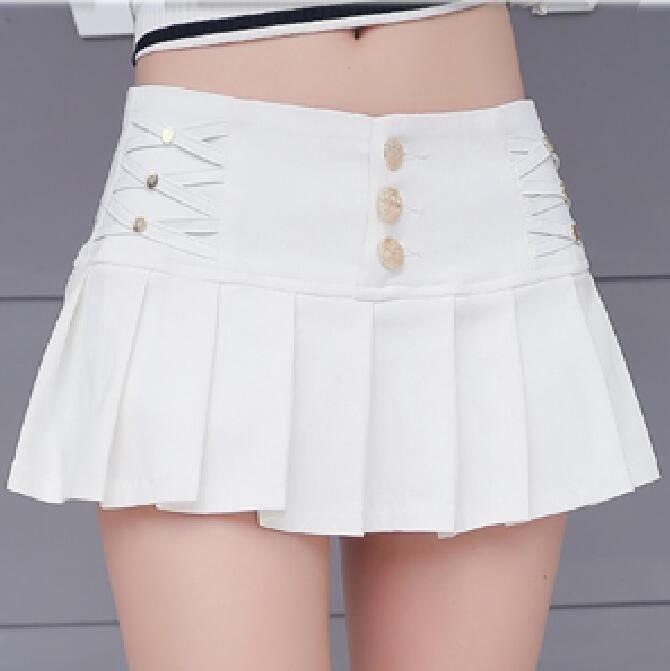 White Tennis Micro Mini Skirt Girls Women/'s Pleated Short Plaid High Waist 087