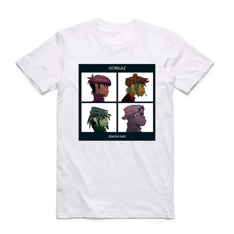 Asian Size Printing Gorillaz Rock Band T-shirt Summer Casual O-neck Short Sleeve Chakakhan Noodle Murdoc Russel Tshirt Hcp4355