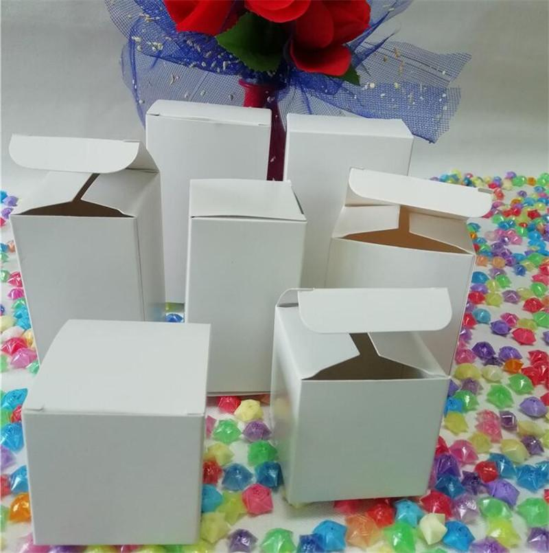 50pcs White Kraft Paper Box Small Gift Boxes For Candy Jewelry Party Craft Packaging Box Diy Cardboard Carton Wholesale