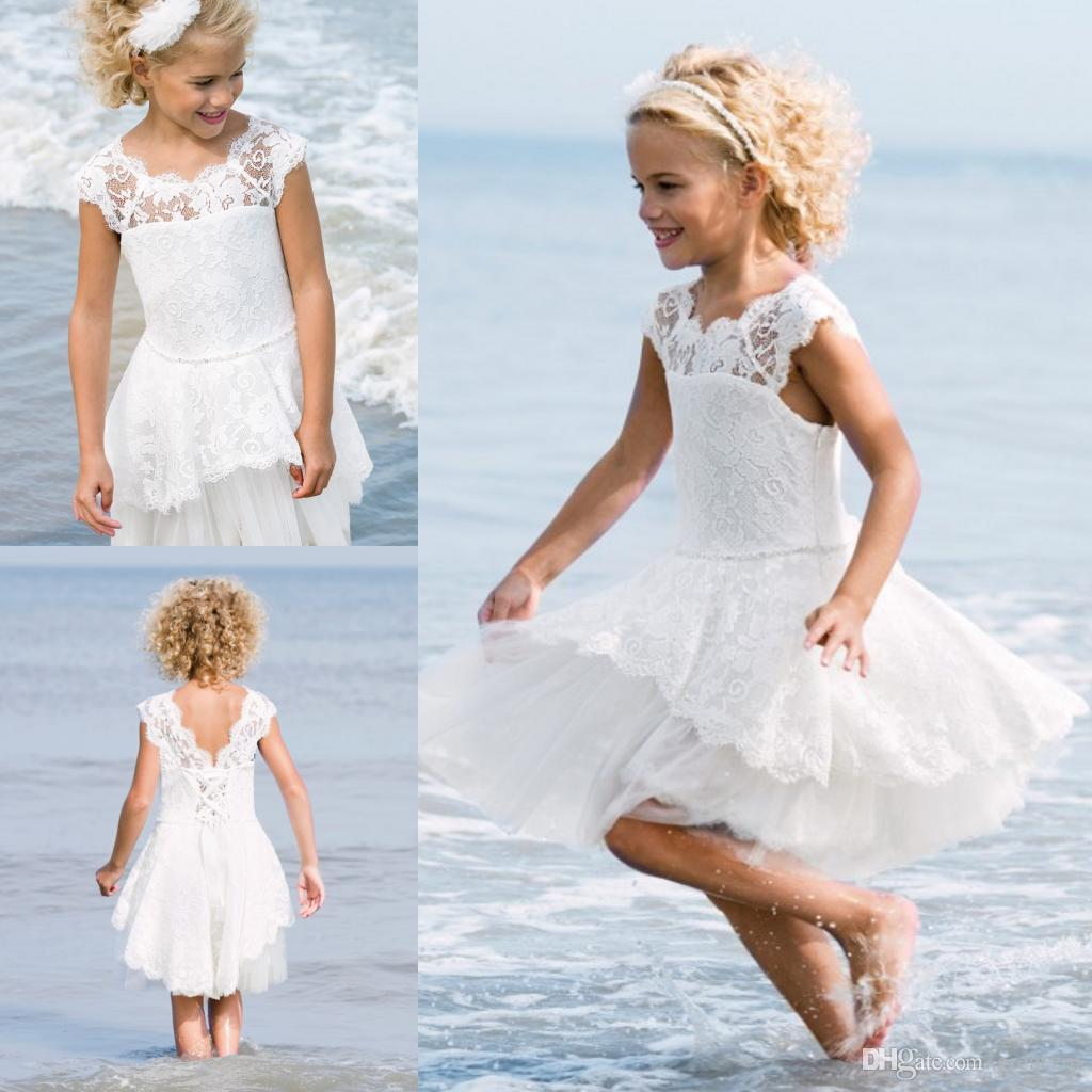 Bohemia Flowers Girls Dresses Lace Cap Sleeve Tieres Tulle Knee ...