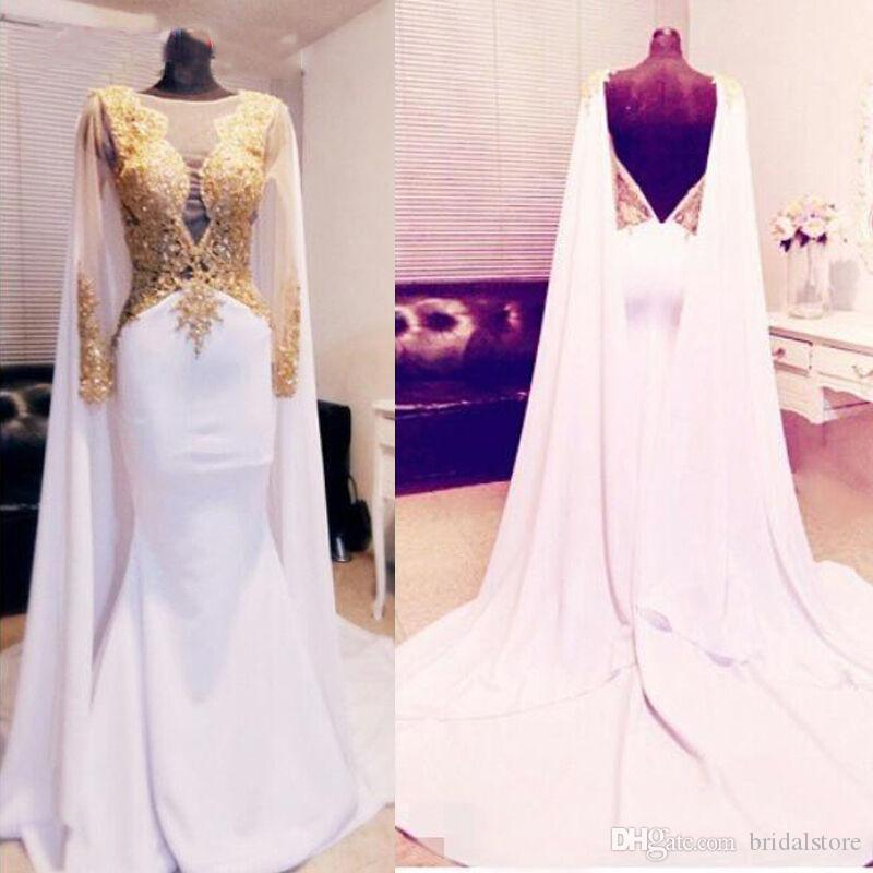 Elegant Caftan Dubai Evening Dresses With Gold Appliques Sexy Backless Chiffon Formal Dresses Women Wear In Turkey 2019 Arabic Evening Gowns