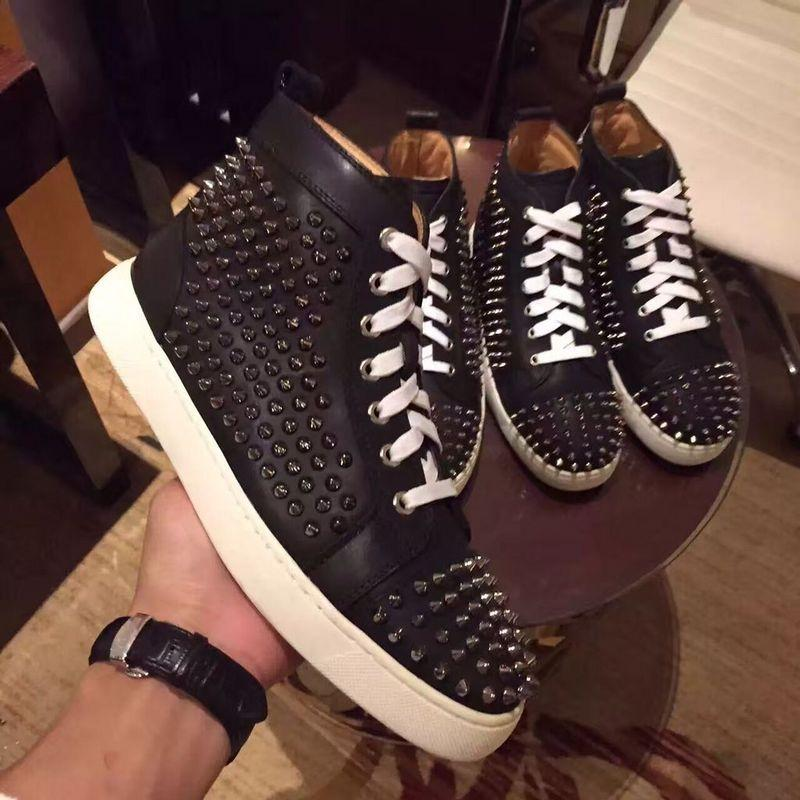 Original Box Women Men Shoes Red Bottom Sneaker Luxury Party Wedding Shoes Genuine Leather Louisfalt Spikes Lace-up Casual Shoes SIZE:35-47