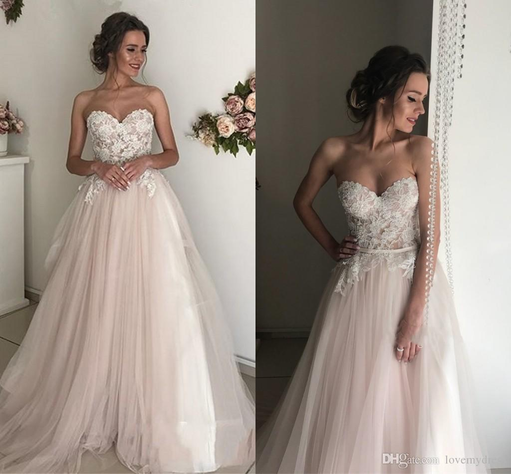 c537796e6ca Discount 2019 Lace Beach Wedding Dresses Strapless Backless Draped Tulle  Skirt Sweep Train Bridal Gowns Party Dress For Special Occasion Dress Long  Designer ...