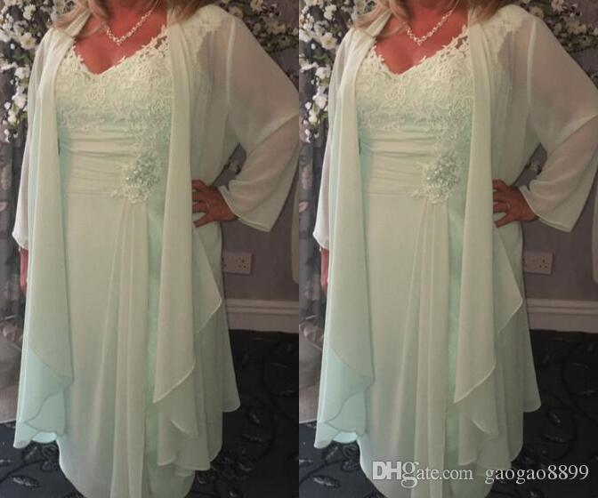 3bacd67be7 Mint Green V Neck Short Mother Of The Bride Dresses With Wrap Plus Size  Casual Chiffon Lace Tea Length Summer Boho Evening Gowns Silver Mother Of  The Bride ...