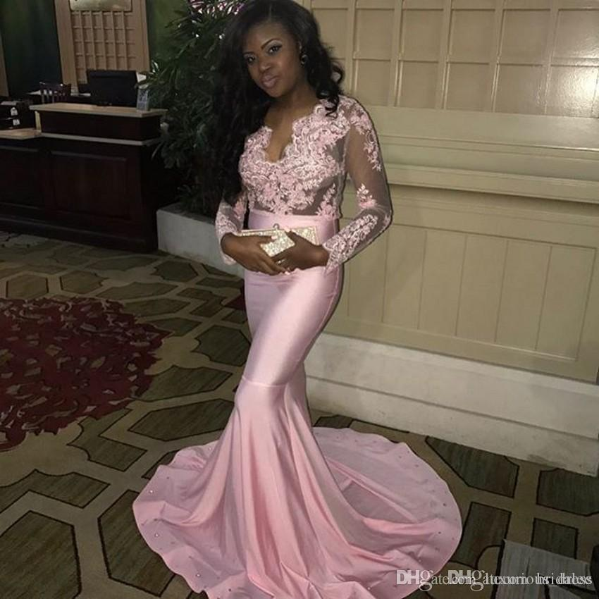 Feestjurken 2019.Pink African Mermaid Prom Dresses Long 2019 Gala Jurken Long Sleeve