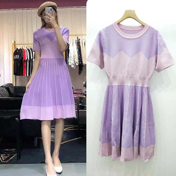 Exclusive good 2019 spring and summer pink purple Slim A word dress Dongguan Dalang Knitting Spot real shot