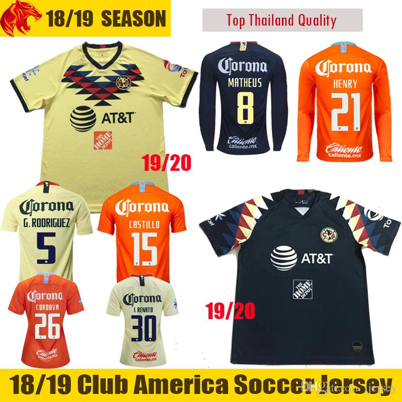 996c16b5b6f 2019 19 20 Club America Soccer Jersey MATHEUS 2019 HENRY Football Jersey  CASTILLO Football Shirt G.RODRIGUEZ Long Jersey Mens And Womens From  Ijersey, ...