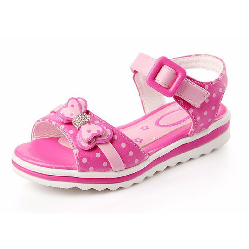 Girls Sandals Girls Summer New Dot Bow Kids Shoes For Fashion Princess Fish Head Kids Shoes