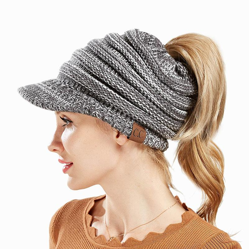 Winter Knitted Beanie CC Brand Hat Female Snapback Ball Winter Hat For  Women Knitted Beanies Cap Thick Women S Skullies Beanies Sun Hat Hats For  Men From ... b7ca699dfa5
