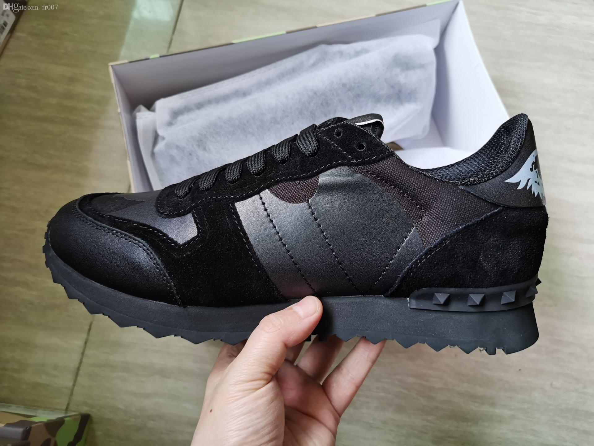 Fashion New Top marchi di stilisti Scarpe Rockrunner Camouflage Noir tessuto nappa della scarpa da tennis Del Cuoio Genuino Mens Donne Appartamenti di lusso scarpe da ginnastica
