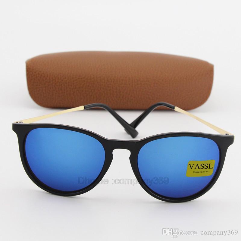 e33fabfb6ae52 Compre New Vassl Marca Designer Óculos De Sol Das Mulheres Retro Do Vintage  Cat Eye Óculos De Sol Moda Azul Espelhado Uv400 Eyewear Com Caixa Marrom De  ...