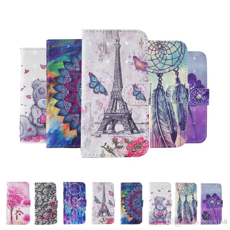 3D Leather Wallet Case For Samsung Note 10 Pro A2 Core Huawei Nova 5i P Smart Z Bling Diamond Holder Slot ID Flower Eiffel Tower Lace Cover
