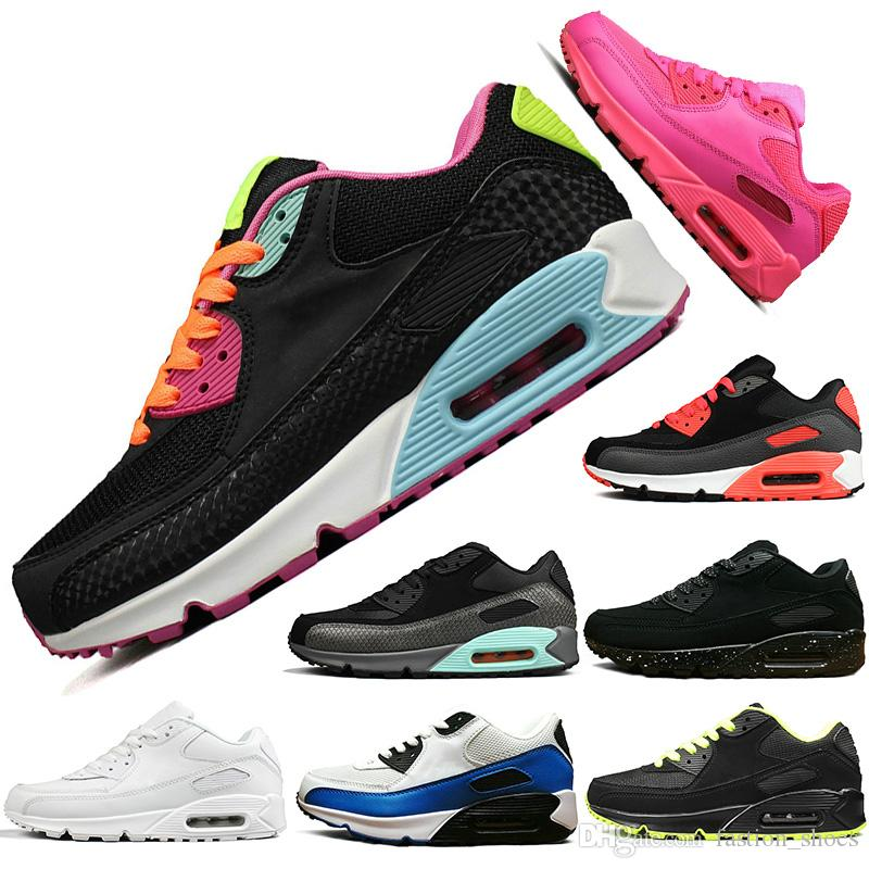 7e7b07c31 Cheap 90 Cushion Running Shoes Triple Black White BLACK CROC INFRARED Men  Women High Quality Trainer Sports Athletic Designer Sneakers Size 36-45