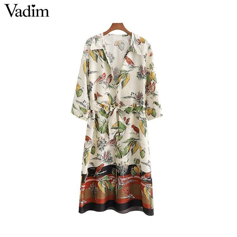 bc9457ede4bc3 Vadim women floral birds print midi dress bow tie sashes three quarter  sleeve female casual mid calf dresses vestidos
