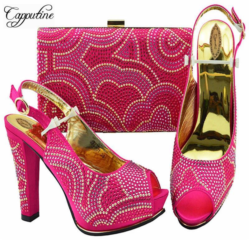 4dbdf175 Compre Moda Italiana Fucsia Zapatos De Mujer Con Bolsos A Juego Para Fiesta  Estilo Africano Zapatos De Tacón Alto Y Bolsas Para La Boda Zs 01 A $84.45  Del ...