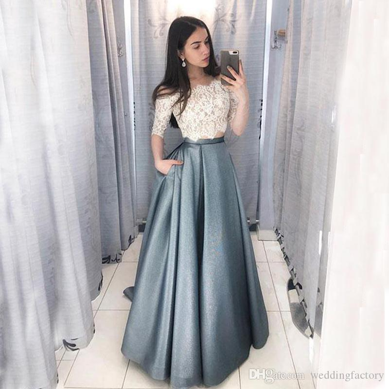 aaa217c3158 2019 Cheap High Quality Prom Dresses Two Pieces Illusion Lace Crop Top Half  Sleeves Off The Shoulder Evening Party Gowns Custom Made Blue Prom Dress ...