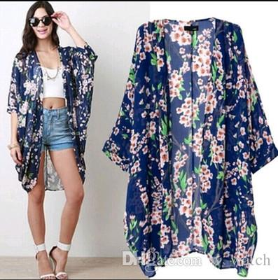 2019 European and American style fashion loose casual summer new kimono-style printed cardigan sleeves chiffon beach sunscreen clothes women