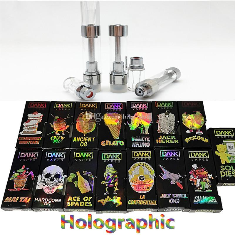 Dank Vape Cartridges Packaging Holographic Box 0 8ml Screw On Tips M6T 510  Carts Empty DANK Vapes Ceramic Coil 1 8mm Hologram Boxes