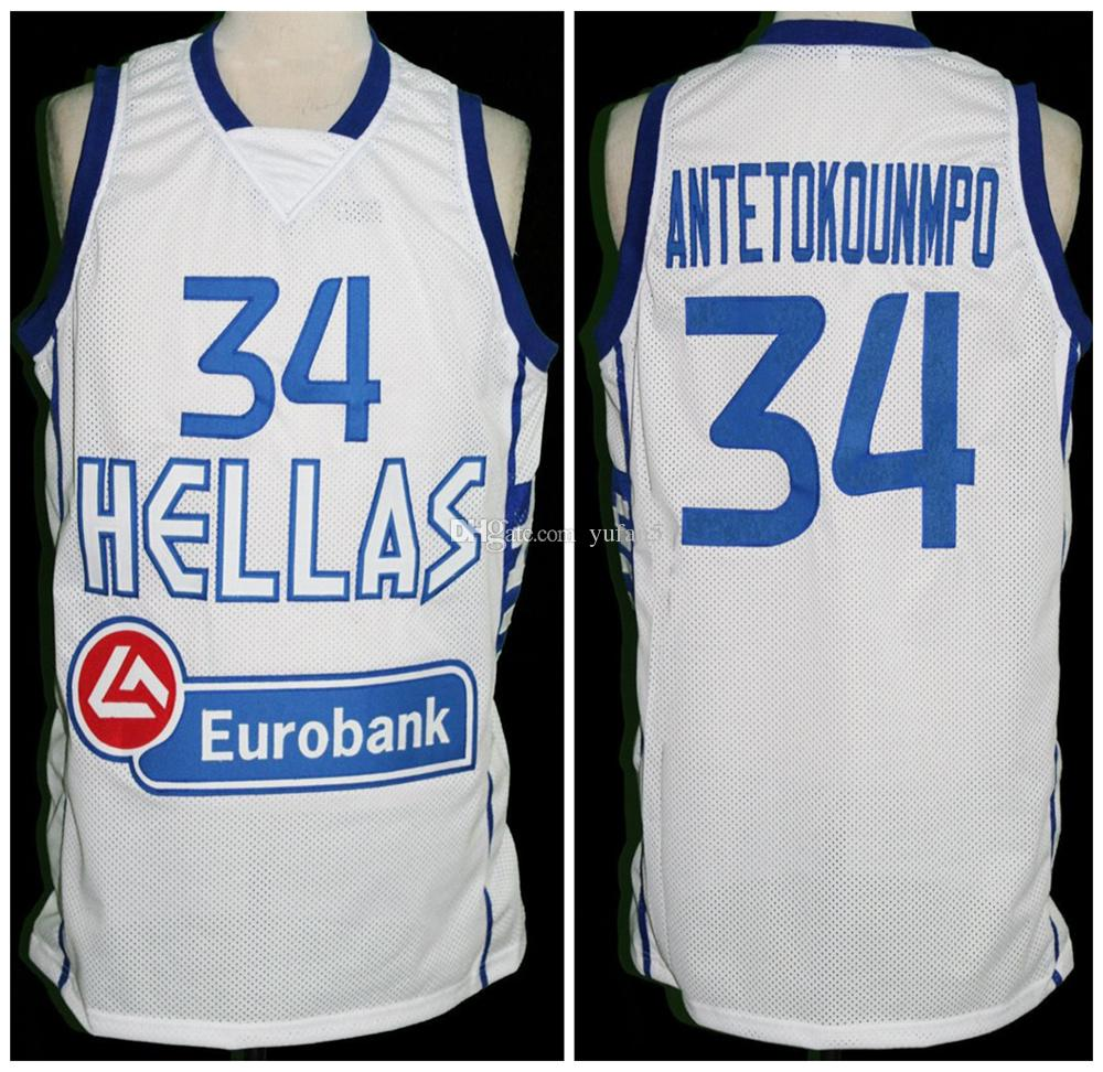 69be03b99b6 2019 Giannis Antetokounmpo  34 Team Greece Hellas Retro Basketball Jersey  Mens Stitched Custom Any Number Name Jerseys From Yufan5