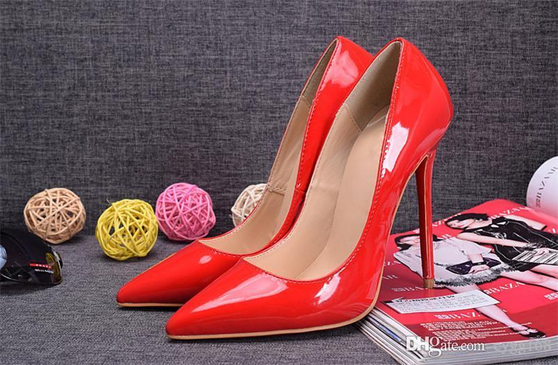 aea874ed6c9 The Red Paint Super Fine Root with Spikes Red Bottom High Heels Women Shoes  12cm High Heel Ladies Female Shoes Footwear Pumps