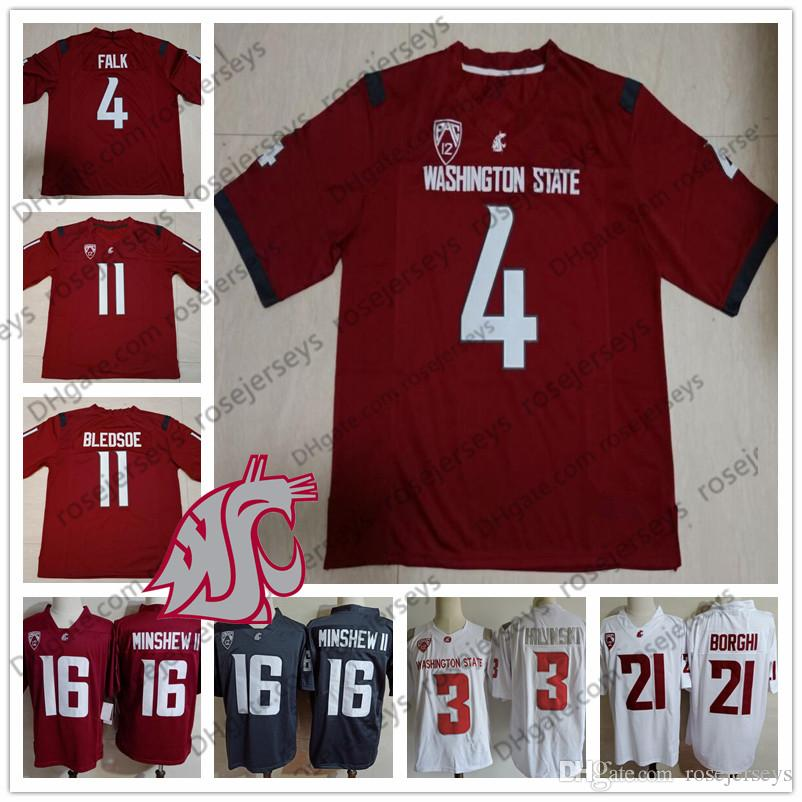 d8974405 2019 WSU Washington State Cougars #3 Tyler Hilinski 4 Luke Falk 11 Drew  Bledsoe 34 Steve Gleason Red White Gray Retired College Football Jersey  From ...