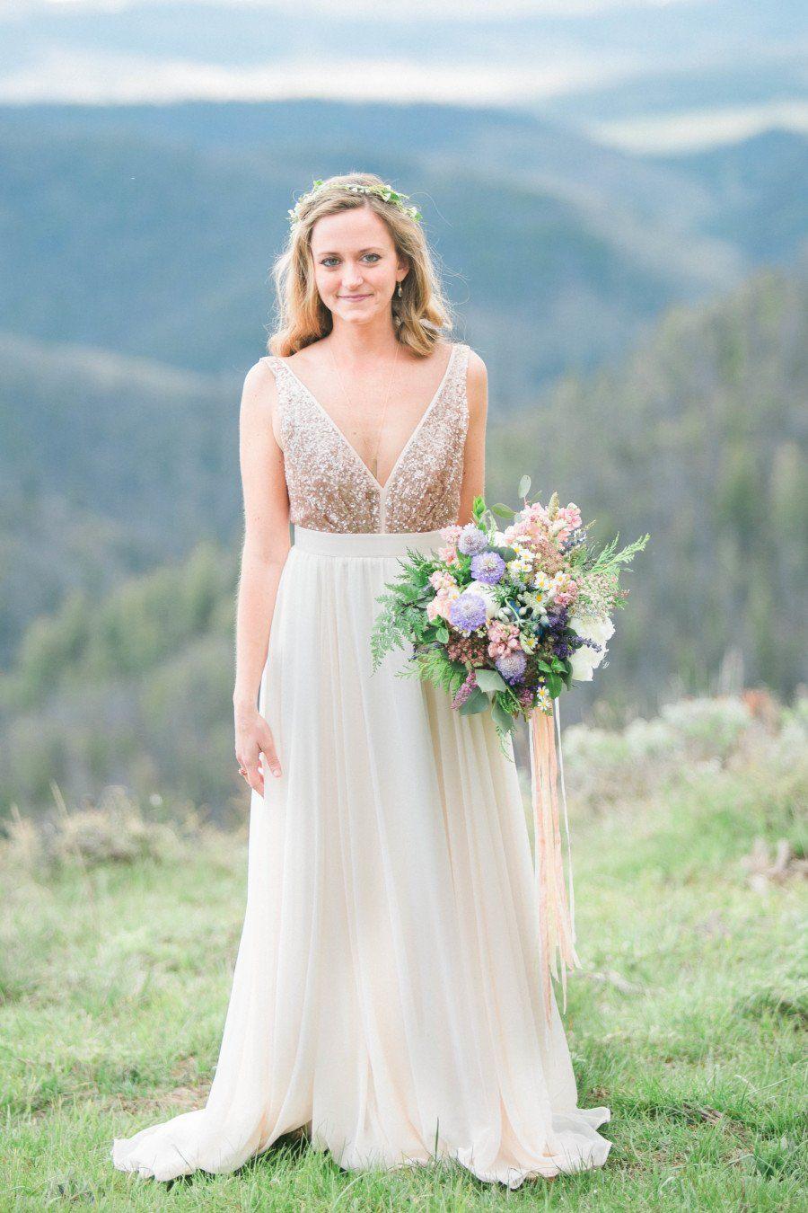 Rustic Backless Boho Wedding Dresses Deep V Neck Top Rose Gold Sequins And Chiffon Bohemian Wedding Dress 2019 Cheap Weeding Dress For Women