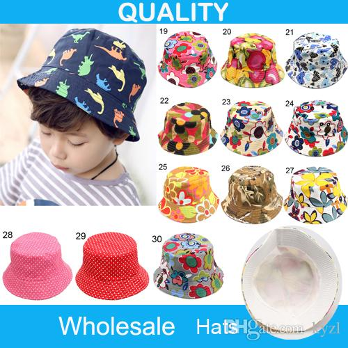 210d5aefc9b Children Bucket Hat Casual Flower Sun Printed Basin Canvas Topee Kids Hats  Baby Beanie Caps B001 Trilby Mens Hats From Kyzl