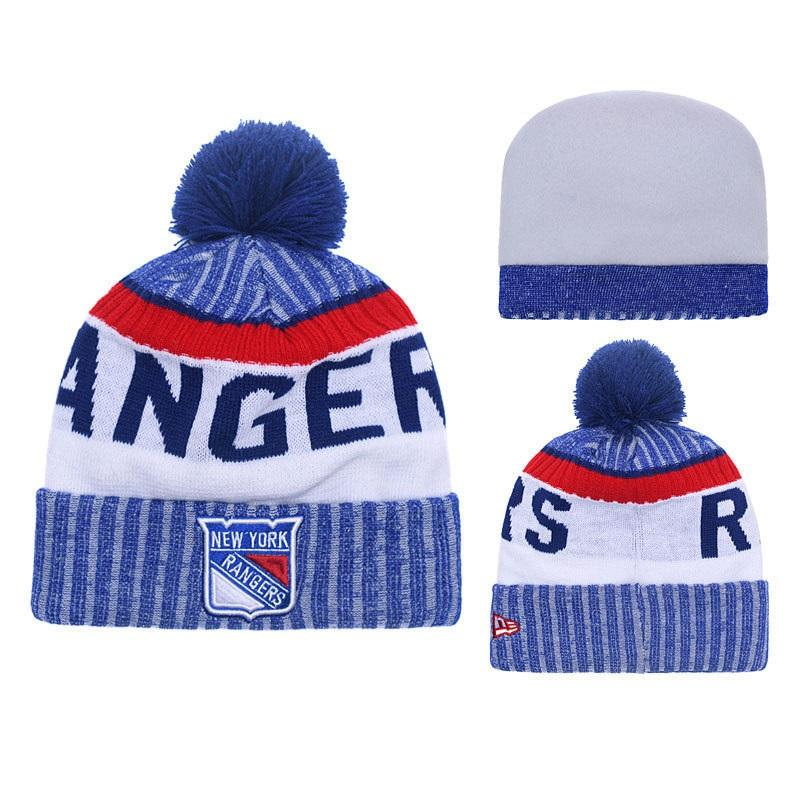 2f48ce8f304 2019 New York Rangers Knit Hat Winter Cap For Men Knitted Cap Women Hedging  Skullies Fashion Warm Fur Pompom Hat Knit Beanie From Sportsun