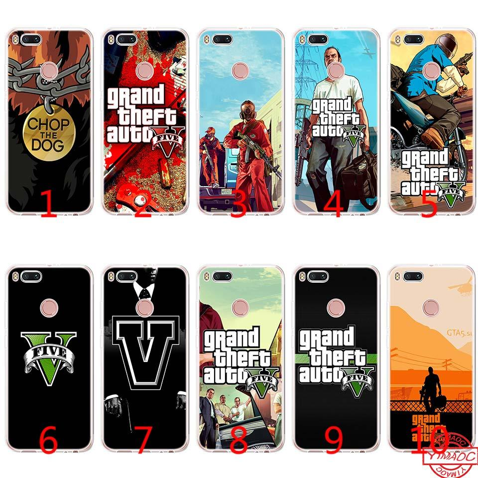 GTA 5 Grand Theft Auto V Soft Silicone TPU Phone Case for Xiaomi Mi A2 Lite  A1 5X 6X 8 SE 6 Mix 2S Cover