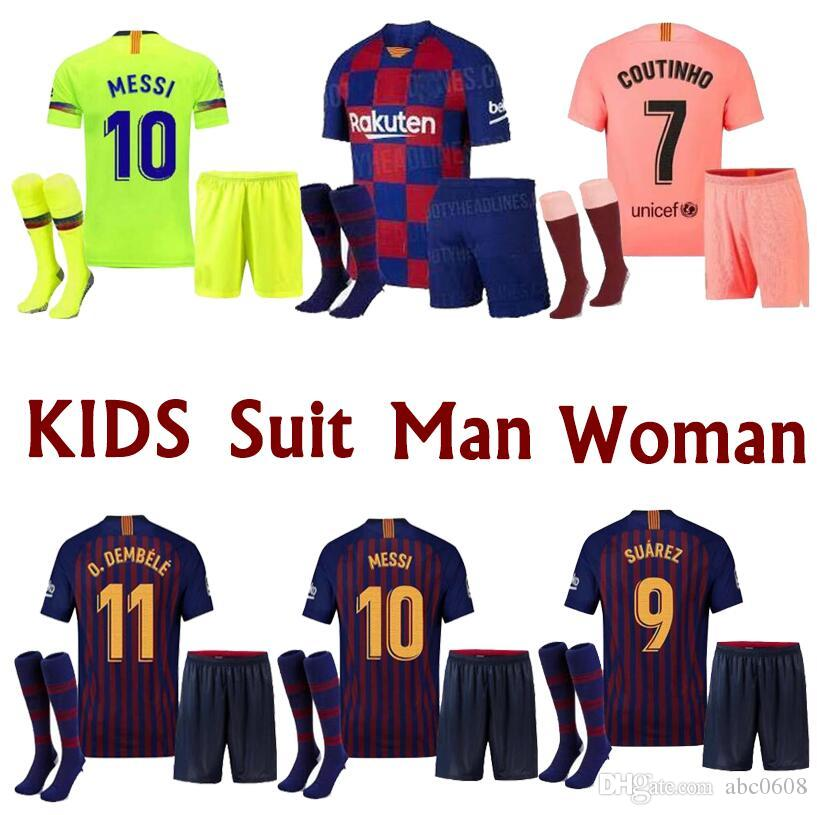 best service ad954 1ddaa New 10 Messi Barcelona Soccer Jersey 2019 Men Women Kids kits 8 Iniesta 9  Suárez 26 MALCOM 11 Dembele 14 7 Coutinho Football uniforms shirts