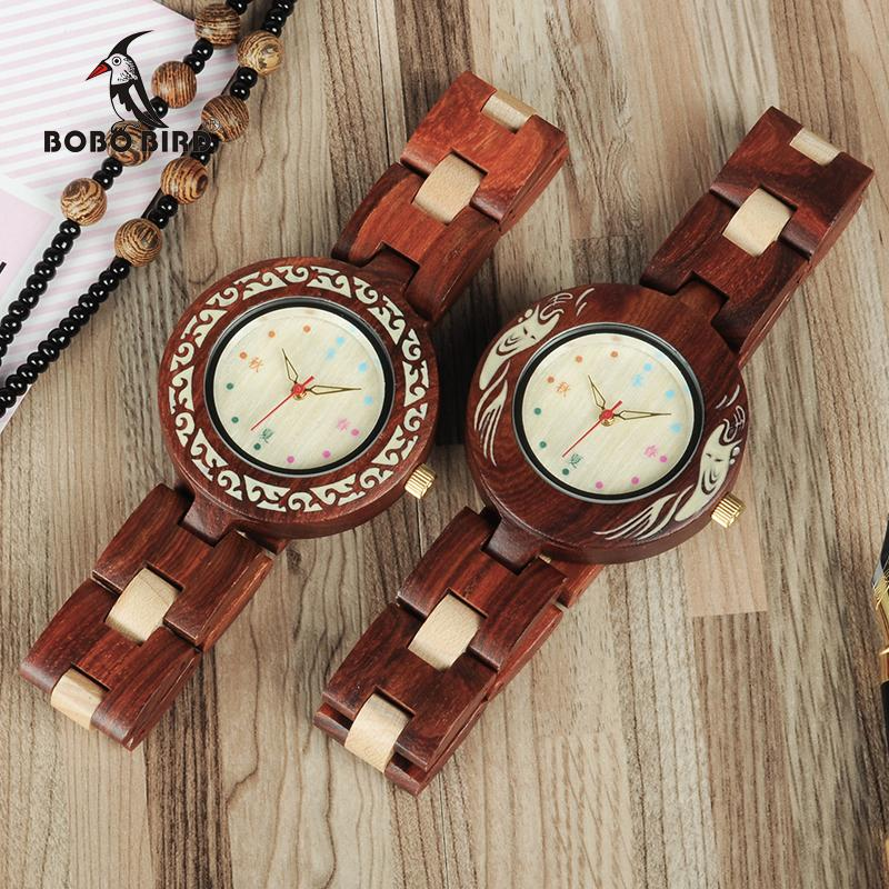 omen's Watches Quartz Wristwatches BOBO BIRD WP15 New Brand Design Seasons Colors Wooden Watches for Women Natural Element Wood Ladies Wa...