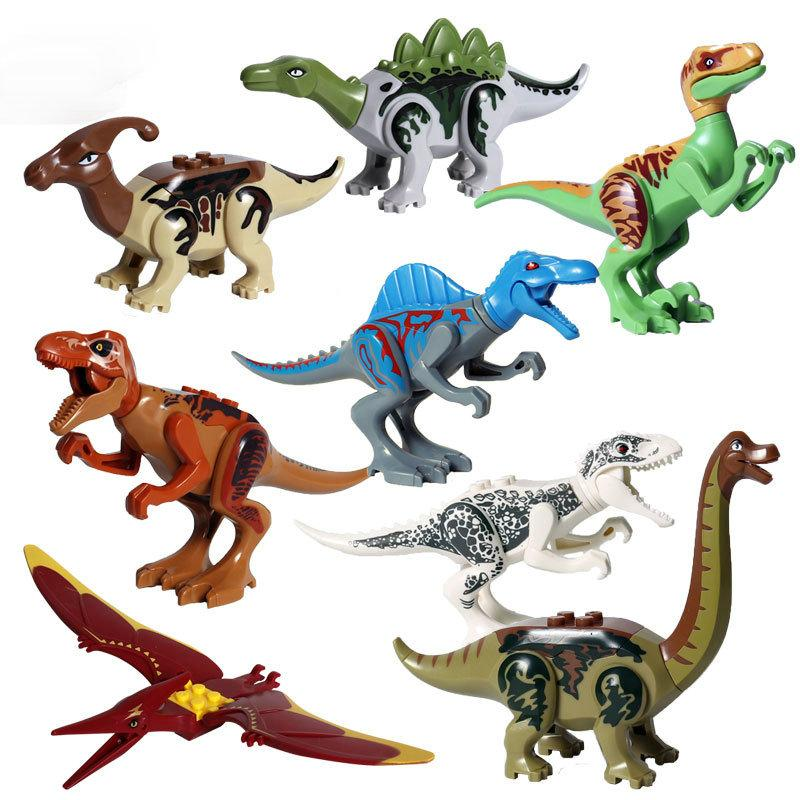 8pcs/lot Jurrassic World Legoingly Jurassic Dinosaur Figure Set For Kids Animal Building Blocks Sets Toys for Children