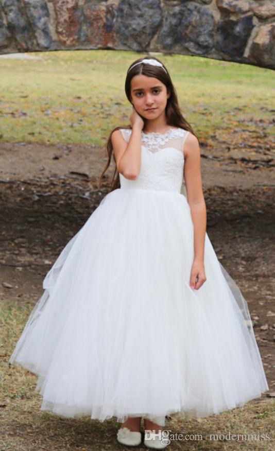 60da1aa23d13b Acheter Blanc Ivoire Fleur Fille Robe Pour Mariage Sans Manches Formelle  Ocaasion Enfants Brithdays Robe Enfant Robe De Soirée Tenue Habillée M45 De   58.3 ...