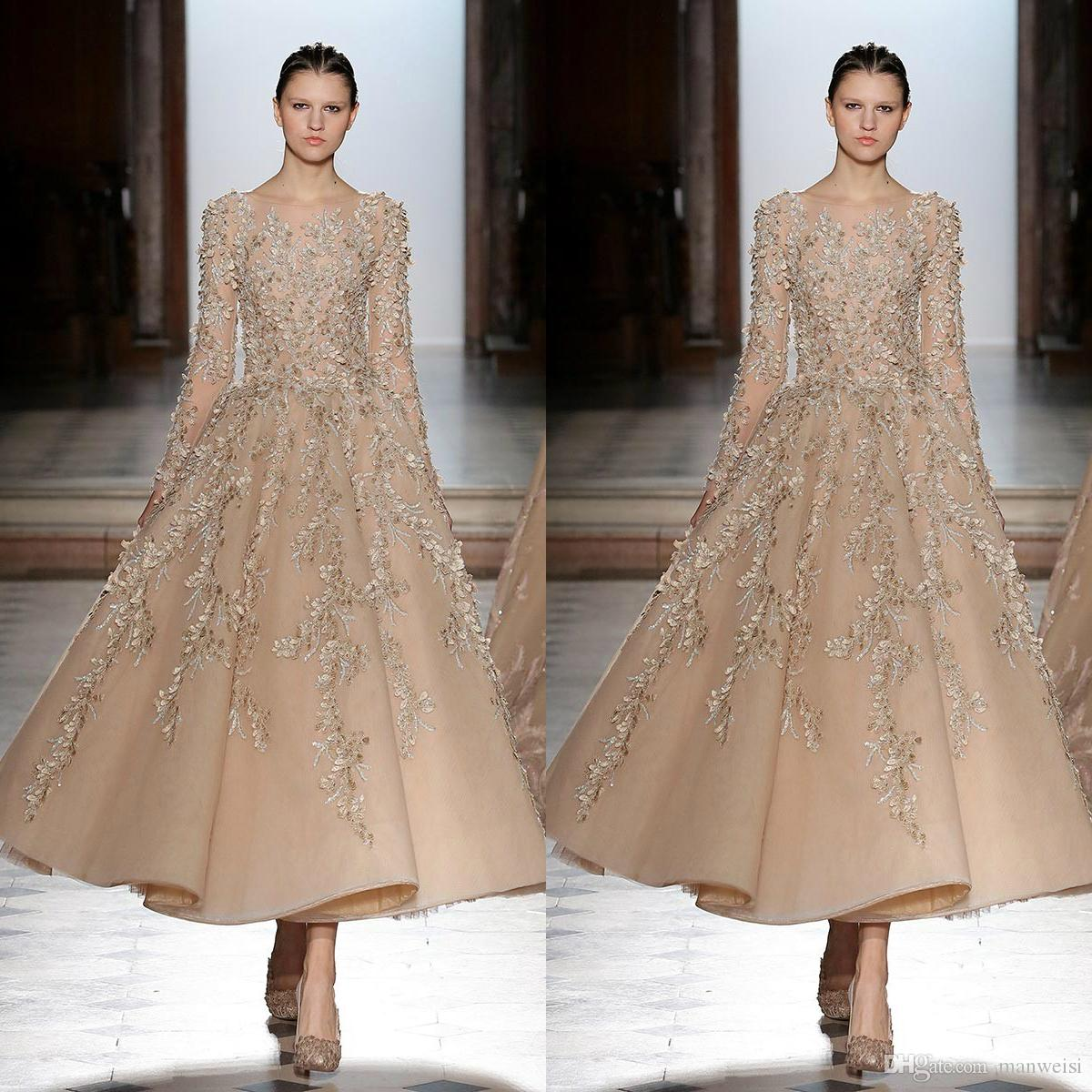 057063407a Tony Ward 2019 A Line Prom Dresses Ankle Length Beaded Lace Formal Evening  Gowns Long Sleeve Jewel Neck Party Dress