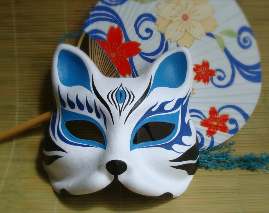 Hand- painted Fox Mask Endulge Japanese Cartoon PVC Mask Half Face Halloween Masquerade Cosplay Party Masks Blue Free Shipping