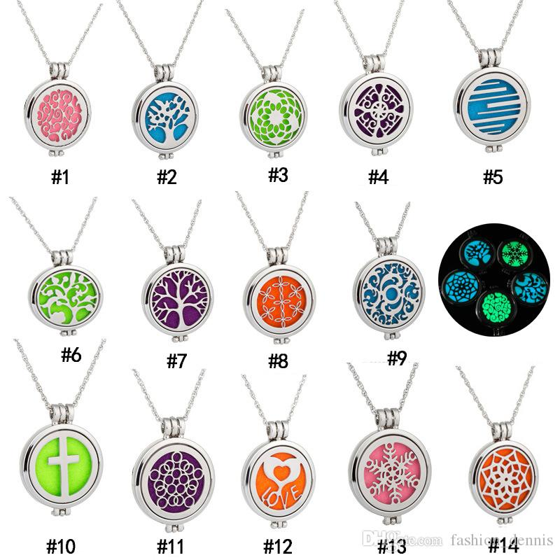 316L Stainless steel Essential Oil Diffuser Necklaces Glow in the Dark Tree of Life flower Locket pendant For women Fashion Jewelry Gift