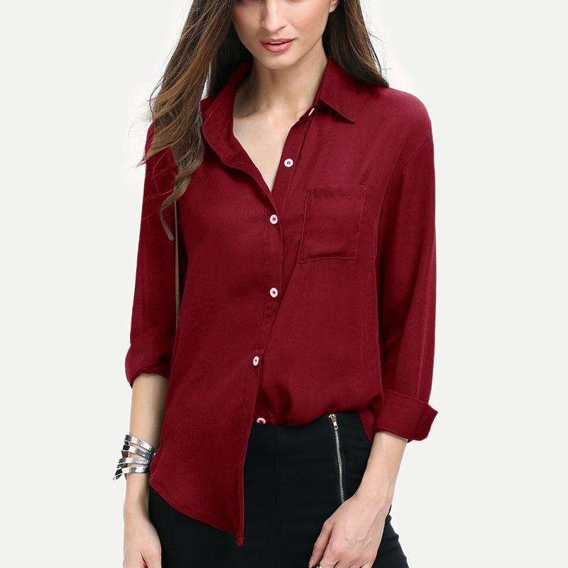 97066cbc 2019 Women Chiffon Blouse Tops Office Ladies Fashion Blouse Button Loose Long  Sleeve Shirts Female Casual Red Shirts Tops KH836050 From Jamie14, ...