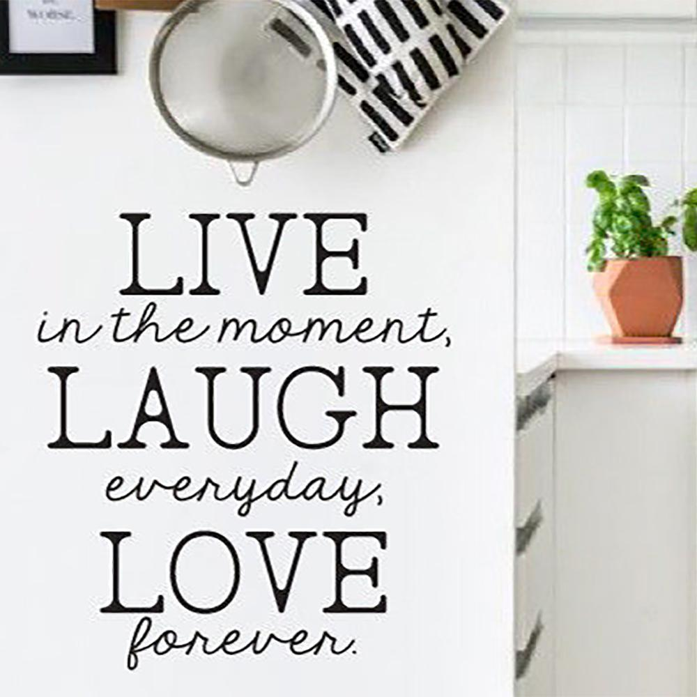 Live Laugh Love Text Wall Sticker Home Quotes Inspirational Love Quotations Waterproof Vinyl House Decor Decals