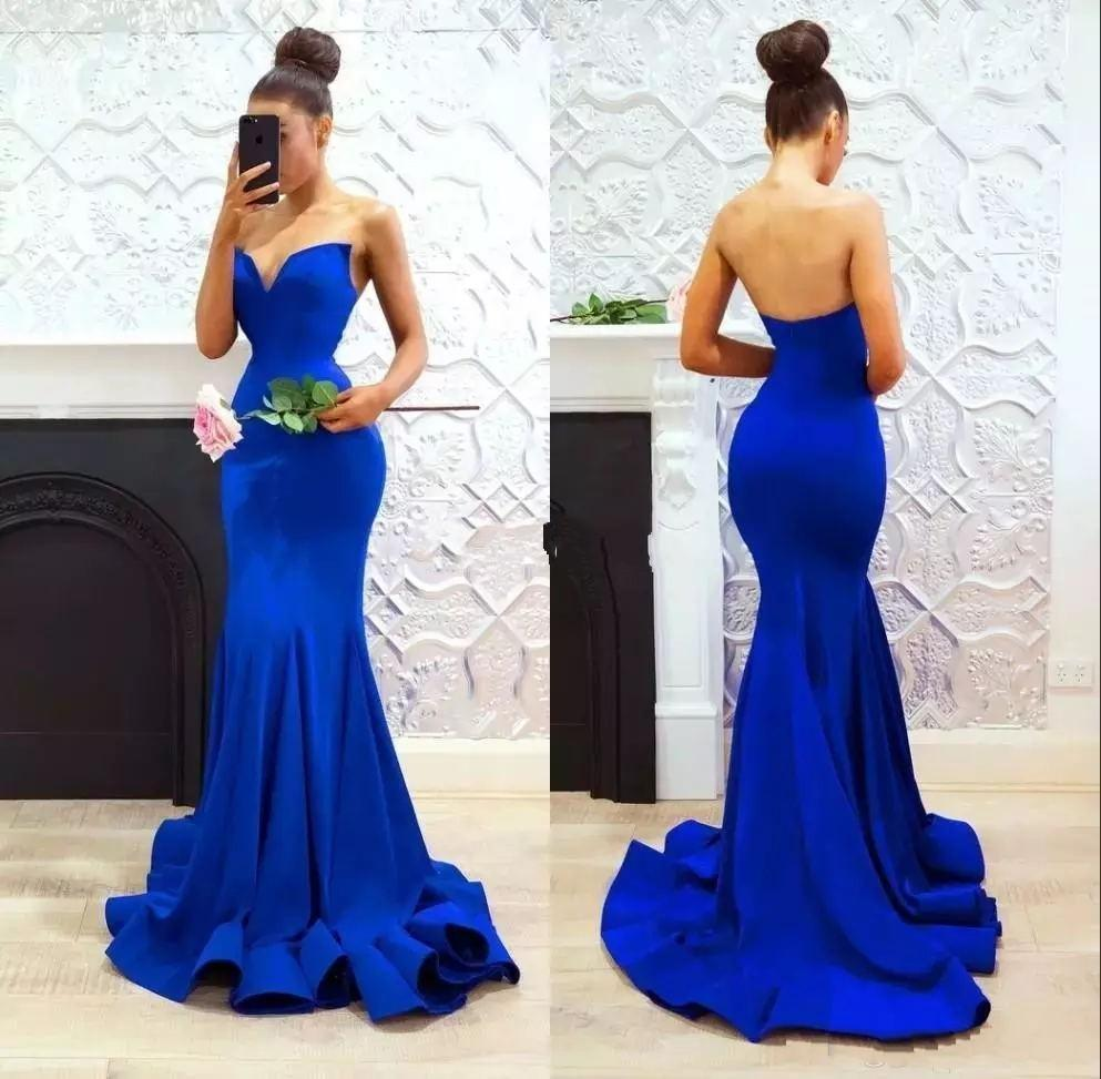 Royal Blue Mermaid Dresses Prom 2020 decote simples Satin Trem da varredura Custom Made Plus Size formal do partido vestidos de noite