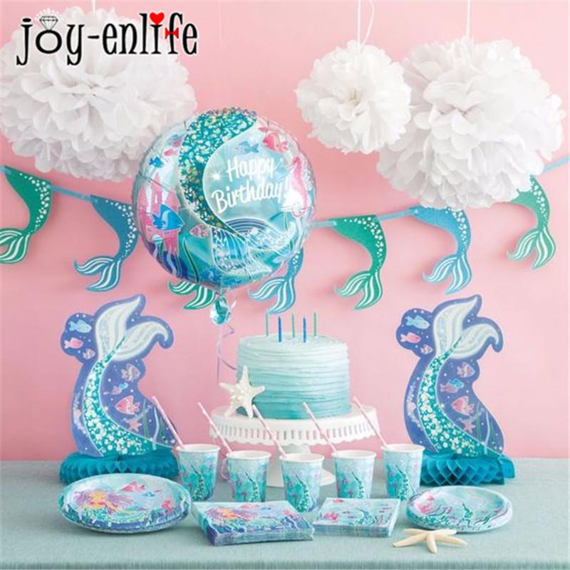 JOY-ENLIFE 1st Happy Birthday Party Set Mermaids Party Tableware Paper Cups Plate Latex Balloons Baby Shower Party Decorations