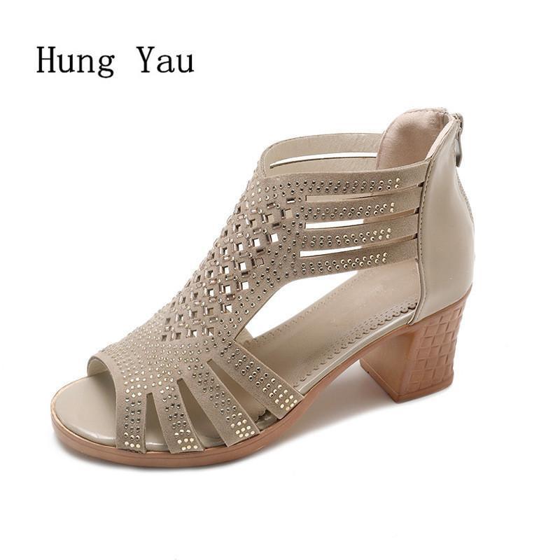 Moda Estilo Altos Sandalias Gladiador Toe Zapatos Vestido Tacones Peep 2019 Bombas Zapatillas Hollow Verano Mujer CBeoxd