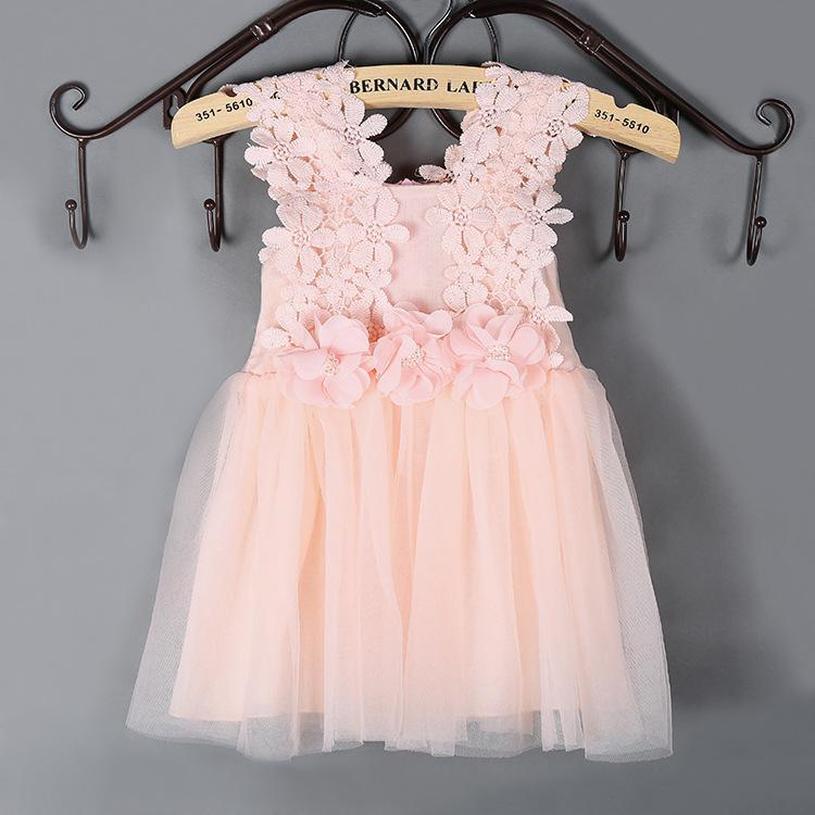 824c434aefe 2019 Hot Sale Summer Dresses For Girls Clothes Pink White Sleeveless Strap  Flowers Lace Mesh Dress Solid Princess Party Dresses Children From ...