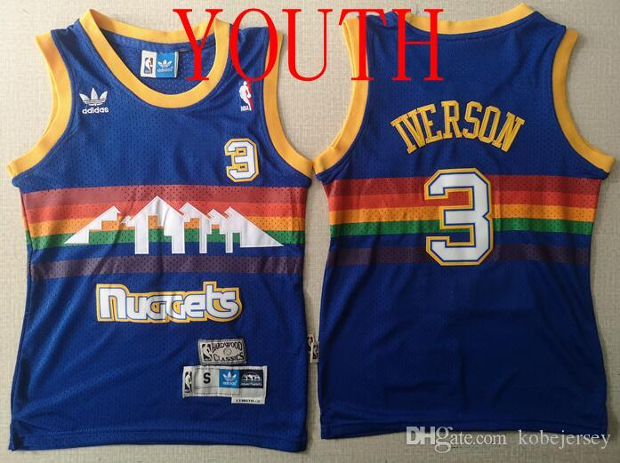 outlet store 213f1 8d127 Youth Clothing Nuggets 3 Iverson Retro Blue Hole Cloth Embroidery  Basketball Jerseys