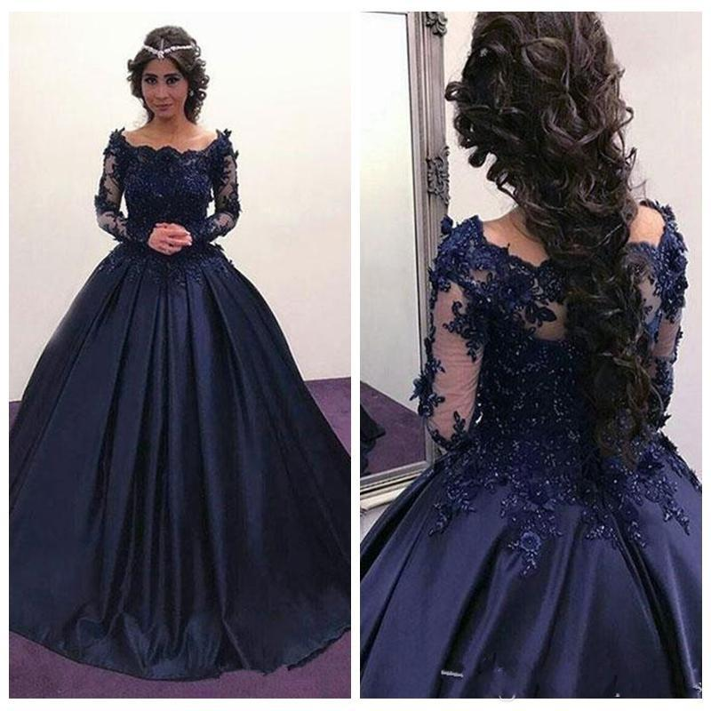 Exquisite Evening Dresses Ball Gowns Scoop Beaded Sequines Satin Tulle Applique Lace-up Long Sleeve Sweep Train Formal Party Celebrity Dress