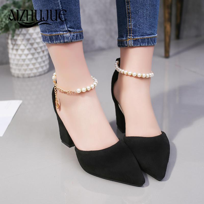 759e4641c616 Designer Dress Shoes Plus Size Women Sandals High Heels Summer Women  Gladiator Sandals Block Heels Pearl Strap Women Pumps Chunky Heels  Orthopedic Shoes ...