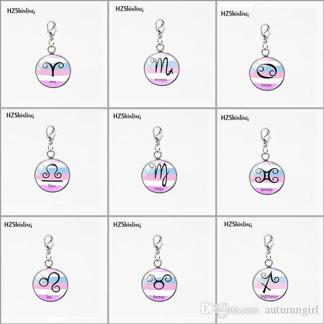 Fashion Cancer Zodiac Signs Stainleaa Steel Round Charms Jewelry Gemini  Aries Scorpio Scales Birthday Gifts Astrology Jewelry